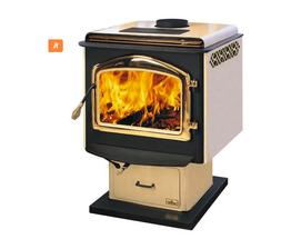 Napoleon 1100S Small Wood Stove Almond Porcelain On a Pedest