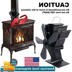 5 Blades Heat Powered Wood Stove Fan Log Burner Fireplace Fa