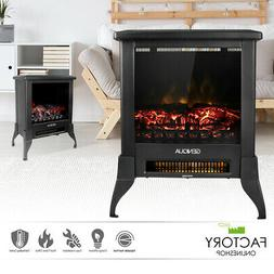 """14"""" Electric Fireplace Heater Freestanding Log Wood Fire LED"""