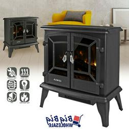 """1400W 20"""" Freestanding Electric Fireplace Heater Stove Black"""