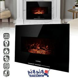 "1400W 26"" Wall Mount Electric Fireplace Heater Adjustable 3D"