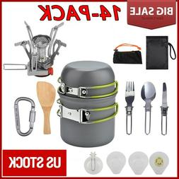 14Pcs Outdoor Camping Cookware Stove Hiking Backpacking Gear