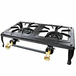 2 BURNER CAST IRON STOVE GAS COOKER CAMPING LP PROPANE