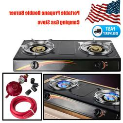 2-Burner Portable Propane Gas Stove Outdoor Indoor Camping K