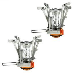 2 Portable Camping Stoves Backpacking Stove with Piezo Ignit
