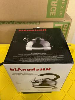 KitchenAid 2-Qt Steel Band Tea Kettle Whistle kten20cbpr Met