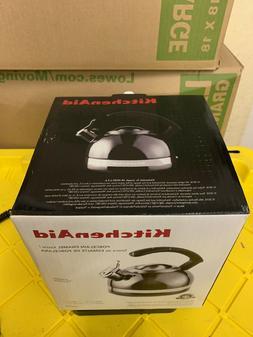 KitchenAid 2-Qt Steel Band Tea Kettle Whistle kten20cbpr Met