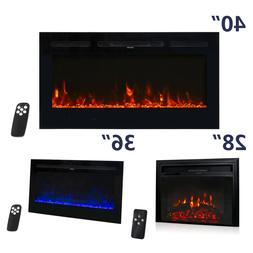 "28"" 36"" 50"" Electric Fireplace Recessed Wall Mount Heater 75"