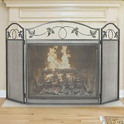 3 Panel Fireplace Screen Outdoor Large Pewter Wrought Iron M