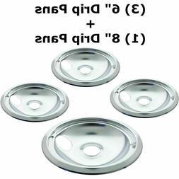 """3 x 6"""" 1 x 8"""" Stove Burner Top Reflector Bowls Range Drip Pa"""
