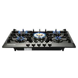 "METAWELL 30"" Black Stainless Steel Golden Burner 5 Stoves NG"