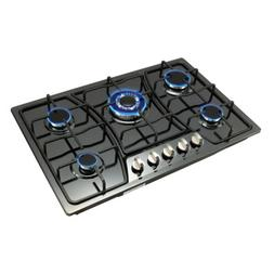 "Metawell 30"" Black Titanium Steel Cooktop 5 Burner Built-In"