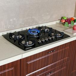 "30"" Built-in 5 Burner Gas Hob LPG/NG Cooktops Glass Kitchen"