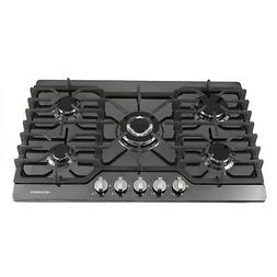 METAWELL 30 inch Black Titanium 5 Burner Built-in Stoves LPG