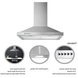 30 inch Range Hood Wall Mount 350 CFM Ceiling Chimney-Style