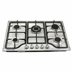 "30"" Stainless Steel 5 Burner Built-in Stoves Gas Cooktop Liq"