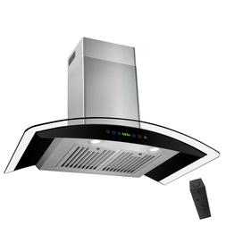 """30"""" Wall Mount Stainless Steel Black Range Hood Touch Panel"""