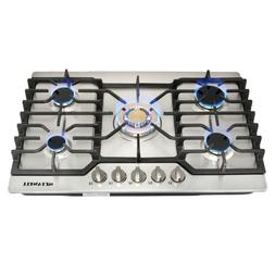 30in Stainless Steel Gold Burner Built-in 5 Stoves Gas Cookt