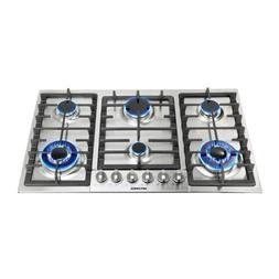 Metawell 34in.GAS Silver Stainless Steel Cooktop Stove 6 Bur
