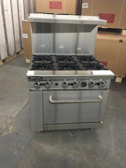 "36"" Commercial 6 Burner Gas Stove Restaurant Range NAT Gas R"