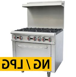 "Pantin 36"" Commercial 6 Burner Oven Range Kitchen Restaurant"
