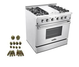36″ PROFESSIONAL STEEL GAS RANGE WITH GRIDDLE + LP Convers