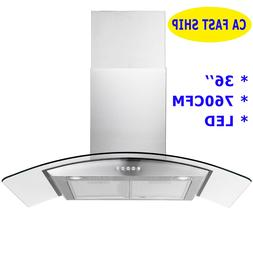 36'' Wall Mount Stainless Steel Tempered Glass LED 760CFM St