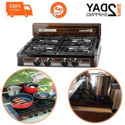 4 Burner Gas Stove For Kitchen Outdoor Camping Cooking Porta