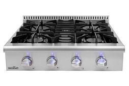 4 burner propane stove  30 Inch Rangetop Stainless Steel HRT
