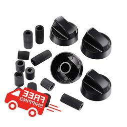 4-Pack of Universal Black Stove/Oven Control Knobs with 12 A