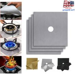 4 Pack New Square Gas Stove Burner Covers Reusable Nonstick