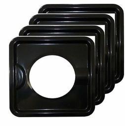 4 PC HEAVY DUTY BLACK STEEL SQUARE REUSABLE GAS BURNER BIB L