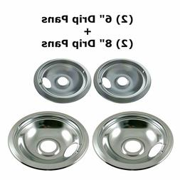 4 SET STOVE DRIP PAN Kenmore Frigidaire Electric Burner Repl