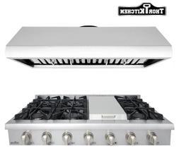 "Thor Kitchen 48"" Gas Range Cooktop+48"" Range Hood 6 Burner G"