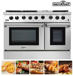 Thor Kitchen 48Inch Gas Range 2 Oven 6 Cooktop Griddle Stain