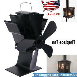 5 Blade Wood Stove Fan Fireplace Fire Heat Powered Saving Ec