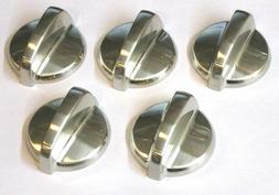 5 Pcs Gas Range Control Knob Steel Cooktop Burner Stove GE W