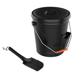 Pure Garden 50-210 4.75 Gallon Black Ash Bucket with Lid and