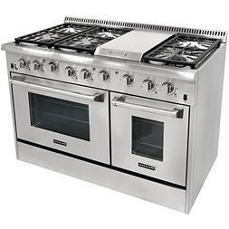 "48"" 6 Burner Gas Range With Double Oven and Griddle"