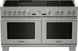 """Thermador 60"""" SS Pro Grand Dual Fuel, Dual Oven Range  PRD60"""