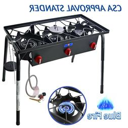 65,000 BTU Outdoor Propane Triple Burner Stove Cast Iron Cam