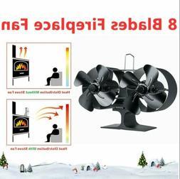 8-Blade Heat Powered Wood Stove Fan Double Motor Burner Heat
