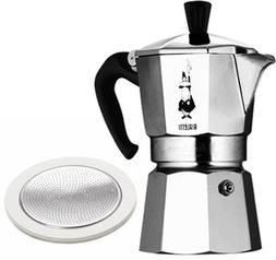 Bialetti 1 cup coffee maker with spare gasket and filter set