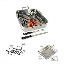 Culina Oven to Stove 16 Roaster Pan Tri-ply Stainless Steel