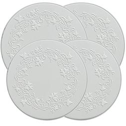 Range Kleen 5057 Set of 4 Round Ivy Embossed White Burner Ko