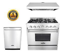 """Thor Kitchen 3-Piece Kitchen Package with HRG3618U 36"""" Pro S"""
