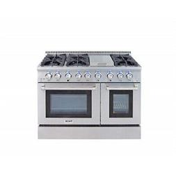 Thor Kitchen Gas Range with 6 Burners and Double Ovens, Stai