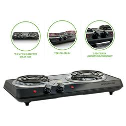 OVENTE BGC102B Countertop Electric Double Burner with Adjust