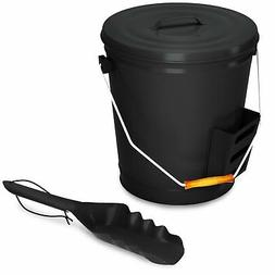Black Ash Bucket with Lid and Shovel For Fireplace - Great W