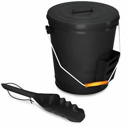 Black Ash Bucket with Lid and Shovel For Fireplace Great Woo